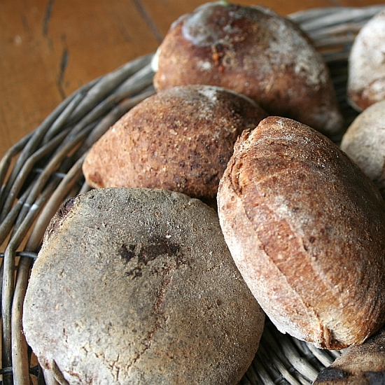 Traditional stottie-cakes, wholemeal
